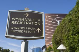The Wynn valet and registration hotel sign with the Encore hotel